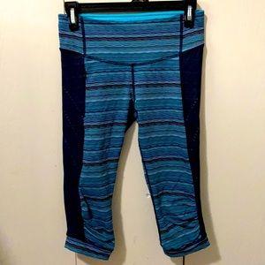 Lululemon Blue, Teal & Black Crop Exercise Pants